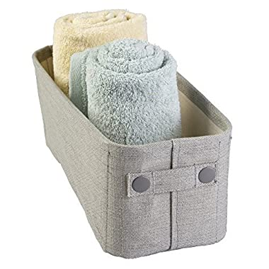 mDesign Cotton Fabric Bathroom Storage Bin for Magazines, Toilet Paper, Bath Towels - Small, Light Gray