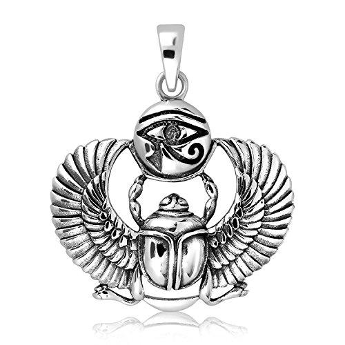 925 Sterling Silver Egyptian Eye of Horus Udjat Ancient Sacred Scarab Beetle Pendant