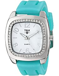 Trax Womens TR1740-WTQ Malibu Fun Turquoise Rubber White Dial Crystal Watch