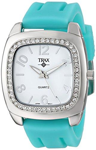 White Rubber Dial - Trax Women's TR1740-WTQ Malibu Fun Turquoise Rubber White Dial Crystal Watch