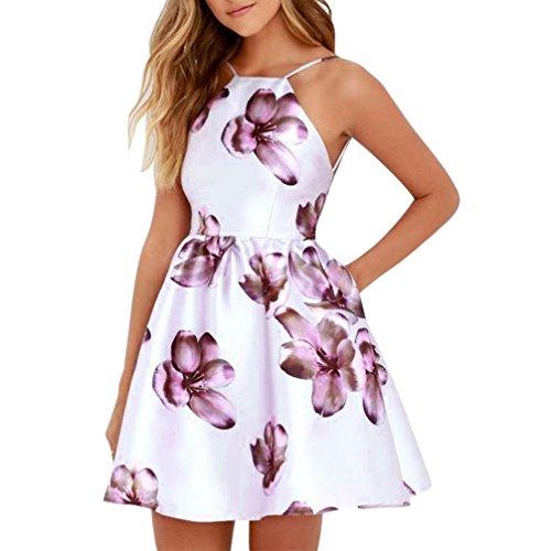SakuraBest Womens Summer Sleeveless Floral Print Mini Dress Ladies Halter Casual Party Dress