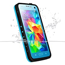 Galaxy S5 Waterproof Case, iThrough Underwater Case, Dust Proof, Snow Proof, Shock Proof Case,Heavy Duty Protective Carrying Cover Case includes a 3.5mm AUX Cable for Galaxy S5 (Blue-)
