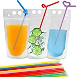 Drink Pouches Bags, 100 Pcs Zipper Plastic Pouches Drink Bags with Straws, Heavy Duty Hand-Held Translucent Frosted Reclosable Stand-up Bag For Sale
