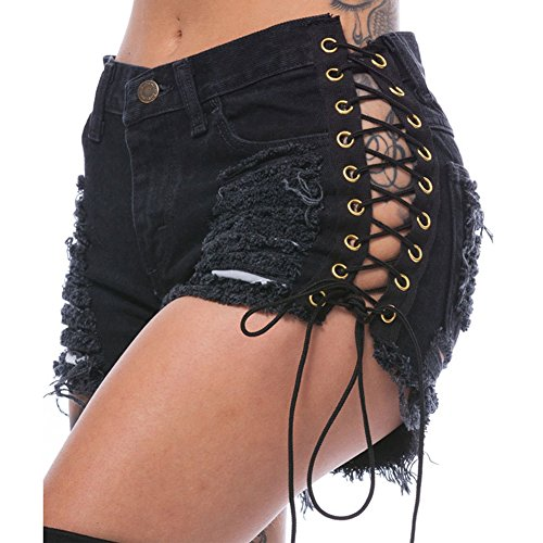 Jeans Taille Shorts basse Dchirs Trous Basic Denim Noir Femmes w4XxdqOngt