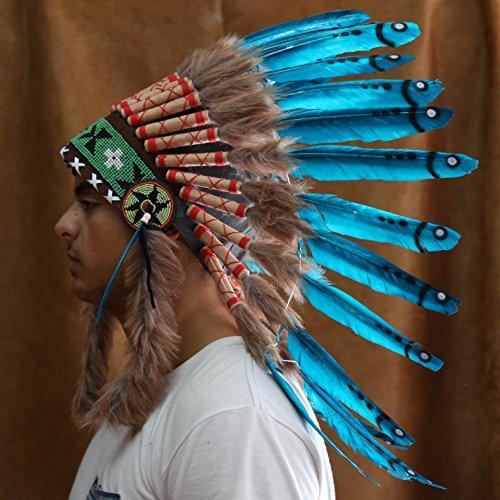 Novum Crafts Feather Headdress | Native American Indian Inspired | Light Blue