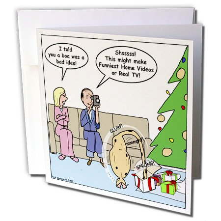 Bad Christmas Present Idea - Funniest Home Videos - Greeting Card, 6 x 6 inches, single - Ideas For Card Christmas Singles