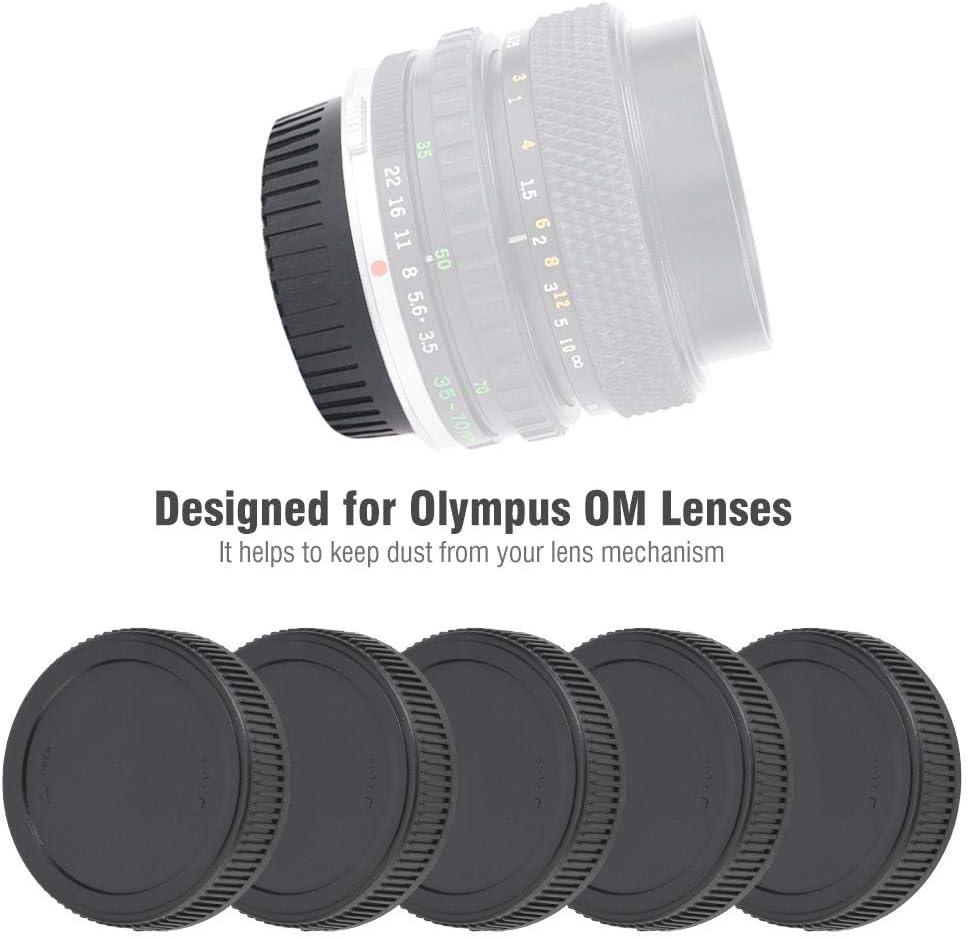 V BESTLIFE 5PCS Lens Cap Durable Wear-Resistant Plastic Rear Cap Protective Cover Fits for Olympus OM Lenses Black