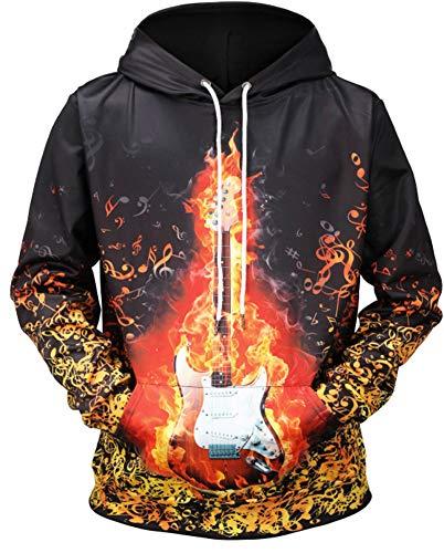 (i-KindPec Men's 3D Patterns Printed Drawstring Sweaters Casual Hoodies Sweatshirts with Big Pockets IK3D001 (Fire Guitar, Large))