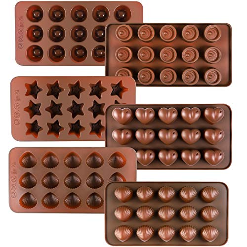 (Kootek 6 Pack Silicone Chocolate Mold Reusable 90 Cavity Candy Baking Molds Ice Cube Trays BPA Free Candies Making Supplies for Chocolates Hard Candy Cake Decoration Soap Crayons Candles)