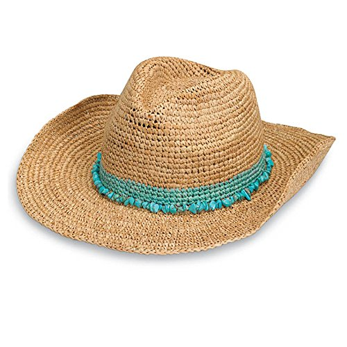 wallaroo Women's Tahiti Cowboy Sun Hat - Adjustable Fit (Turquoise)