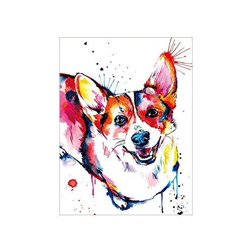 Heaven2017 Wall Art Cute Watercolor Corgi Dog Decorative Painting Frameless Home Decor - 45cm x 60cm