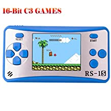 """Handheld Game Console Classic Retro Video Gaming Player Portable Arcade System Birthday Gift for Kids Recreation 2.5"""" Color LCD Built in 168 Games (Blue)"""