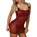 Women Sexy Bow Leopard Print Style Lingerie Babydoll Mini Dress (XL, Red)