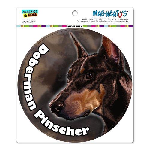 Graphics and More Red Doberman Pinscher - Dog - Pet Circle Automotive Car Refrigerator Locker Vinyl Magnet ()