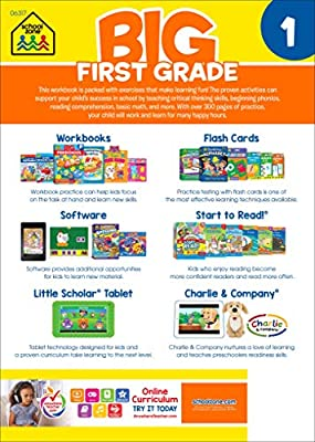 School Zone - Big First Grade Workbook - Ages 6 to 7, Basic Math, Addition & Subtraction, Telling Time, Reading, and Phonics (School Zone Big Workbook Series)