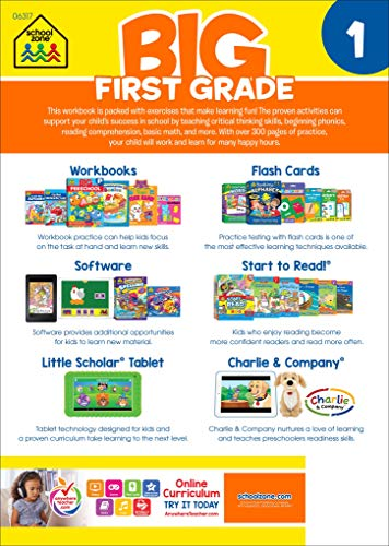 School Zone – Big First Grade Workbook – Ages 6 to 7, 1st Grade, Beginning Reading, Parts of Speech, Basic Math, Word…