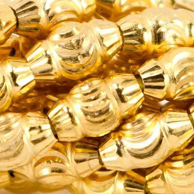 10mm 22kt Gold Plated Brass Swirl and Fluted BiCone Beads