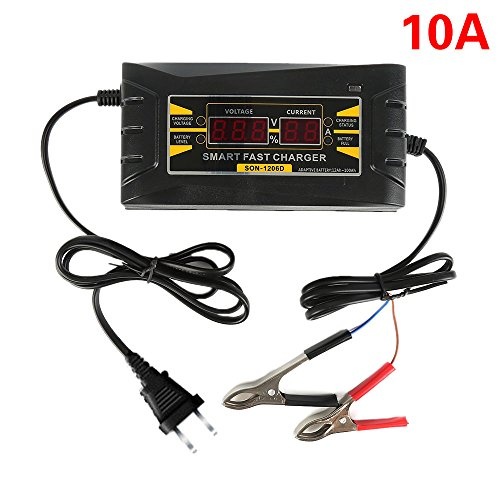 Battery 10a Charger (Wisamic 12V 10A Smart Fast Lead-acid Battery Charger with LCD Display for Car Motorcycle)