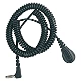 DESCO Brand 91095 Coiled Ground Cord, 4 mm Socket, 6', Right Angle Banana Plug, with Resistor
