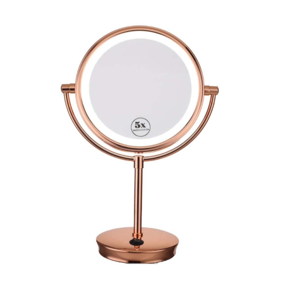 Miroir de maquillage LED double face 8 pouces grand bureau Miroir grossissant 5x miroir de beauté or rose Plug USB, Rose gold wexe.com
