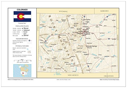 13x19 Colorado General Reference Wall Map - Anchor Maps USA Foundational Series - Cities, Roads, Physical Features, and Topography - Usa Features Physical