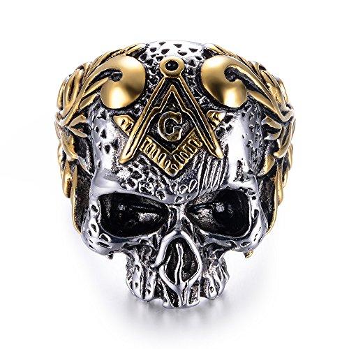 EEJART 316L Stainless Steel Classic Masonic Skull...