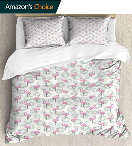 shirlyhome Flamingo European Style Print Bed Set,Pink Flamingos and Donuts Tropical Hawaiian Animals Delicious Desserts Bedding Sets,1 Duvet Cover,1 Pillowcase 68