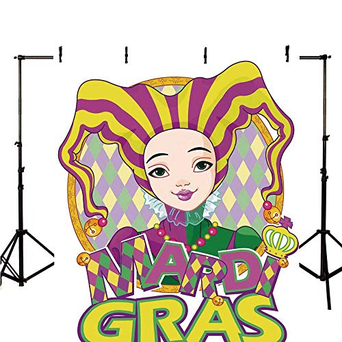 Mardi Gras Stylish Backdrop,Carnival Girl in Harlequin Costume and Hat Cartoon Fat Tuesday Theme for Photography,78.7
