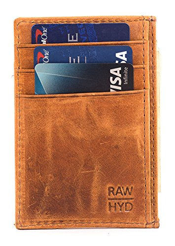 RAWHYD Full Grain Leather Card Wallet With Cash Pocket … (Reddish Brown) ()