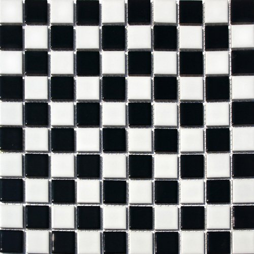 Vogue Square Checkered Tile Black & White Porcelain Mosaic Shiny Look Designed in Italy (12x12) ()