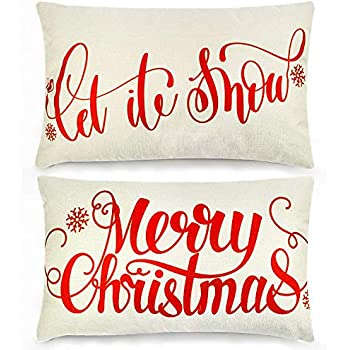 TERUNPU 2pcs Christmas Pillow Covers 12x20inches, Christmas Pillow Cases, Cotton Linen Pillowcase Merry Christmas Let it Snow Pillow Cases, Home Sofa Bedroom Car Decor Hoilday Gift