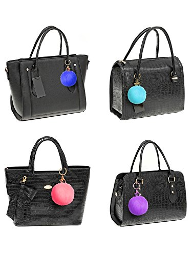WILLBOND 12 Pieces Faux Fur Ball Pom Pom Keychain Fluffy Ball Key Chain with Key Ring for Handbag Bag Decoration, 8 cm, 10 cm, 14 cm by WILLBOND (Image #4)