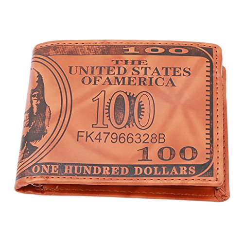 CH Mens US $100 Dollar Bill Leather Bifold Card Holder Wallet Handbag Purse (Light brown)