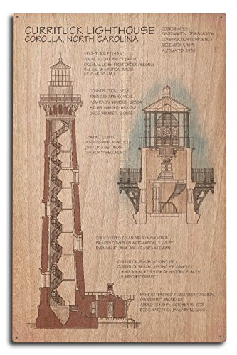 - Lantern Press Outer Banks, North Carolina - Currituck Beach Lighthouse Technical (10x15 Wood Wall Sign, Wall Decor Ready to Hang)