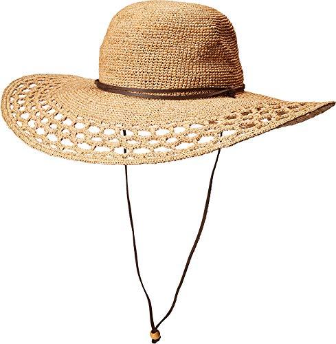SCALA Women's Hand Crocheted Raffia Round Crown Hat Tea One Size