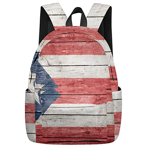 School Backpack for Teens/Kids/Girls/Boys/College Puerto Rico Flag Printed Multipurpose Laptop Bag Casual Daypack for Hiking/Climbing/Travelling