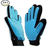 [Professional Edition]2-in-1 Pet Grooming Glove - Puppy Dog Cat Hair Remover Gloves - Pet Bathing Brush - High Quality Massage Comb for Dog Cat Horse And Most Pets Deshedding Brush