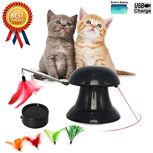 Cat Toys 2 in 1 Automatic Rotating Light Interactive Feather Toy USB Charged Safe Pet Entertainment Exercise with 360° Rotation Design for Cats and Dogs