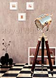 Wood Floor Lamp - Designer Nautical Spotlight Collectable Searchlight Spot Light Studio Tripod Floor Lamp