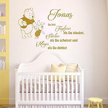 Vinyl Wandtattoo Zitat Du Bist Tapferer Als Du Glaubst Starker Als Du Scheinst Und Kluger Winnie Puuh The Pooh Mit Namen Fur Kinder Baby Wandaufkleber
