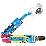 BooginHead PaciGrip Pacifier Leash, Super Power BAM-Blue/Red