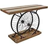 Deco 79 Metal Wood Wheel Console, Brown/Black