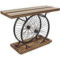 Deco 79 Metal Wood Wheel Console, Brown/Black