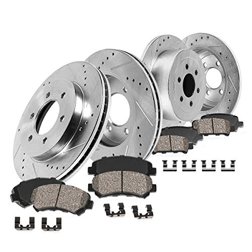 Callahan CDS03659 FRONT 308mm + REAR 312mm D/S 6 Lug [4] Rotors + Ceramic Brake Pads + Clips [ 2003 2004 Dakota ]