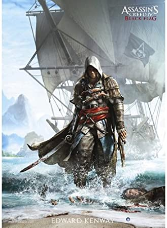 Assassins Creed IV 4 negro de la bandera de Edward Kenway de barco Póster con diseño de 70 x 100 cm.: Amazon.es: Hogar