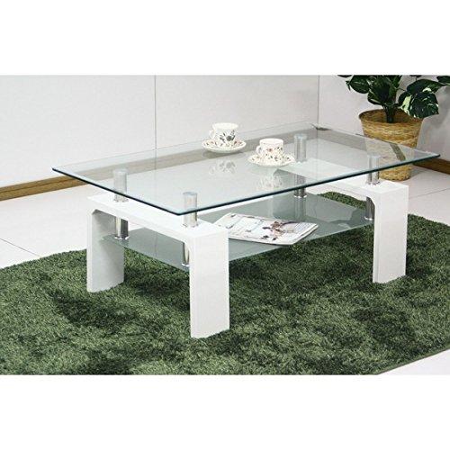 強化ガラステーブル ローテーブル 【幅120cm】 高さ45cm 棚収納付き ホワイト(白) B01MG4RXJX 幅120cm|ホワイト ホワイト 幅120cm