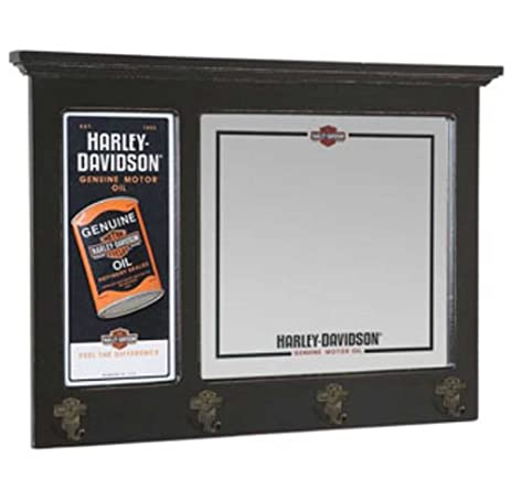Amazon.com: Harley-Davidson Oil Can Bar Mirror with Coat Hooks ...