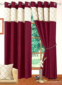 Great LIVINGROOM BEDROOM CREAM BURGUNDY RING TOP EYELET LINED CURTAINS FAUX SILK  Size 90 Part 27