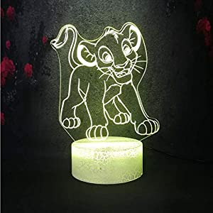 3D LED Night Light Lion King Smile Simba for Kid Desk Table Sleep Bedside Lamp 7 Color Change Touch Base USB Charge Battery Powered