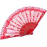 Lanburch Creative Plastic Dance Folding Fans Rose Pattern Dance tool Red